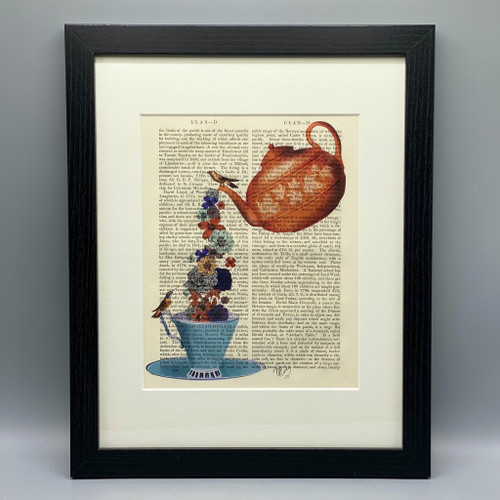 Teapot Cup & Flowers Framed Book Print
