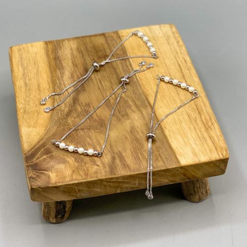 Silver Bead & Pearl Adjustable Bracelet