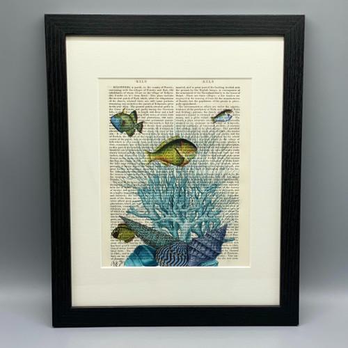 Blue Shells, Fish & Coral Framed Book Print