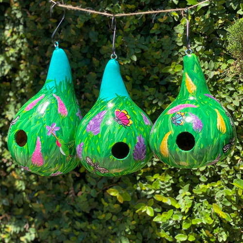 Hand-Painted Floral & Butterfly Gourd Bird House