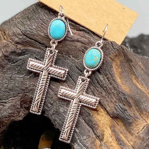 Antique Silver & Turquoise Cross Earrings