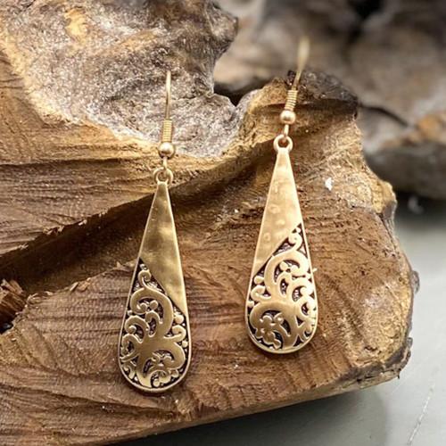 Worn Gold Half Filigree Earrings