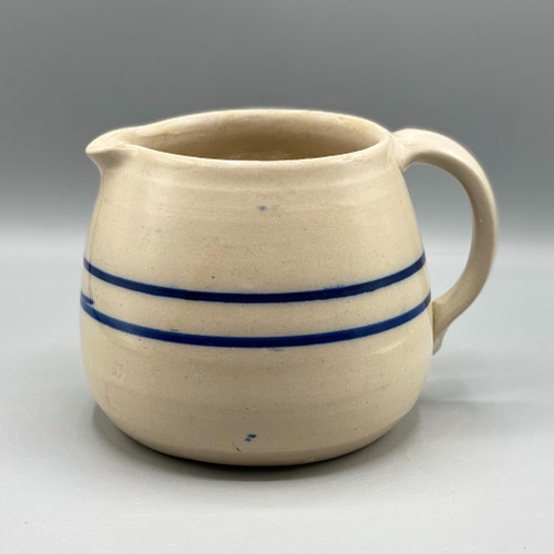 Blue Stripe Stoneware Batter Pitcher
