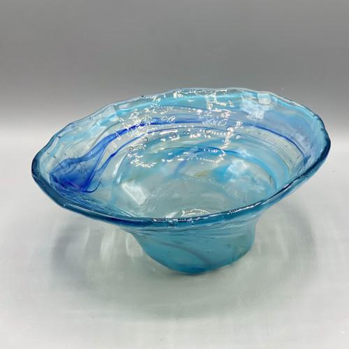 Blown Glass Blue Bowl