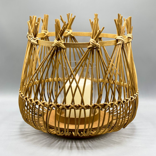 Bamboo Candle Holder w/ Glass Insert