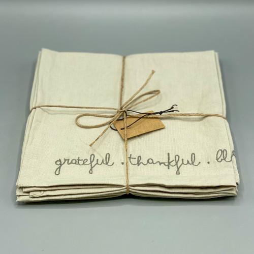 Grateful Thankful Blessed Linen Blend Napkins