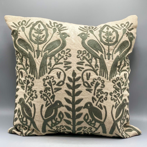Charcoal Color Embroidered Pillow