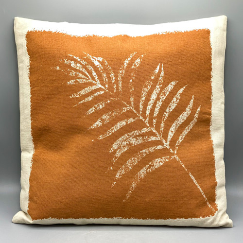 """18"""" Square Cotton Printed Pillow w/ Frond"""