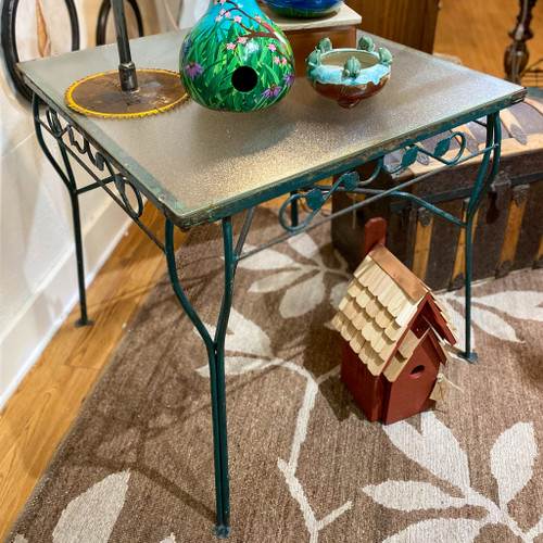 Iron Leaf Glass Top Table