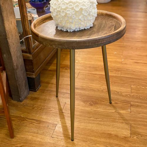 Iron & Wood Round Tray Table