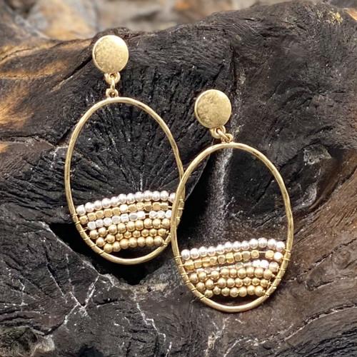 Worn Gold Oval w/Beads Earrings