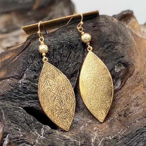 Worn Gold Marquise Drop Earrings