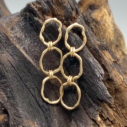 Worn Gold Metal Linked Earrings