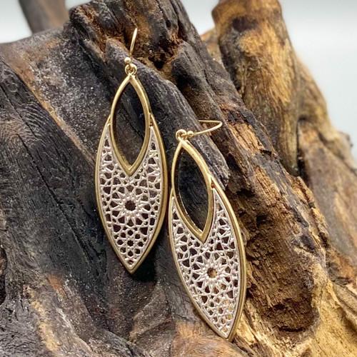 Worn Gold Silver Filigree Earrings