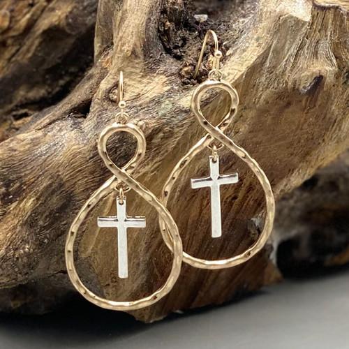 Gold w/Silver Cross Earrings