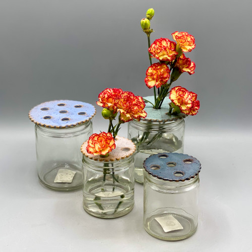 Ceramic Flower Frog w/Jar