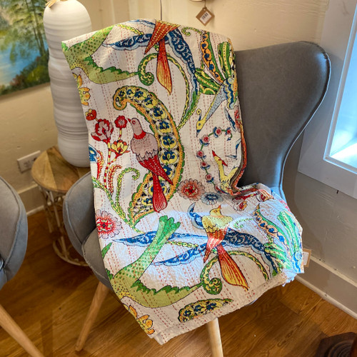 """Birds of a Feather Printed Quilt, 90"""" x 108"""""""