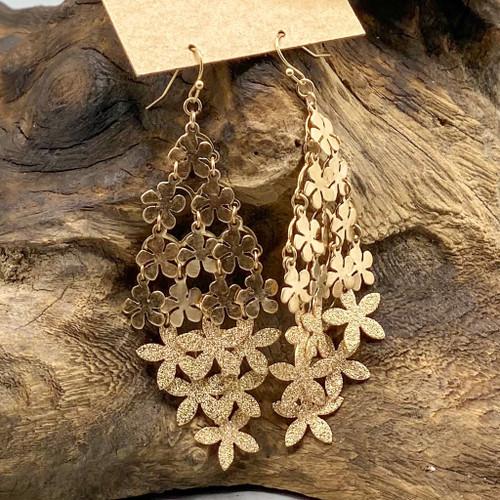Gold Flower Sand Finish Earrings