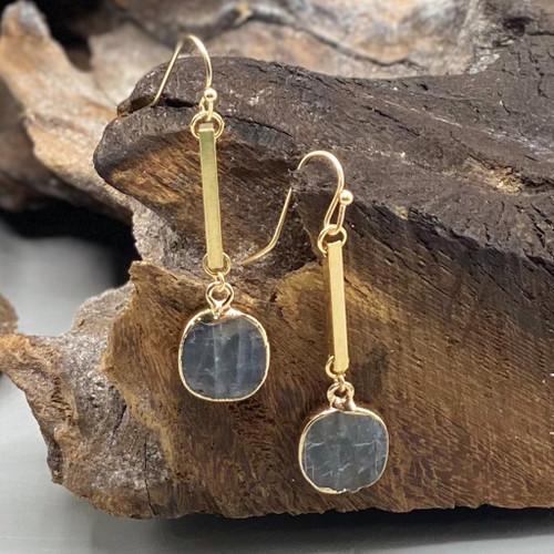Grey Semi Precious Stone Drop Earrings