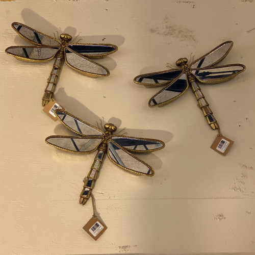 Gold Mirrored Dragonfly Wall Decor