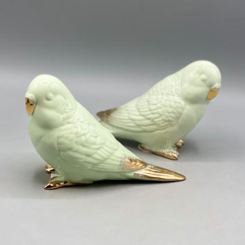 Ceramic Parakeet w/Gold Electroplating