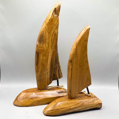 Teak Sailboat Sculpture