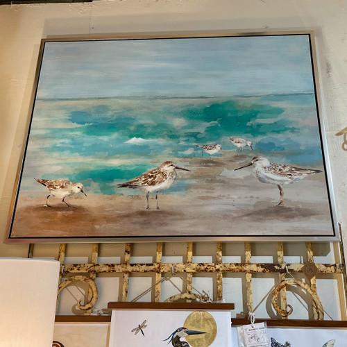 Framed Birds on the Beach Canvas