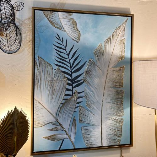 Wood Framed Leaves Canvas