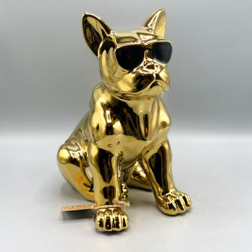 Ceramic French Bulldog w/Glasses