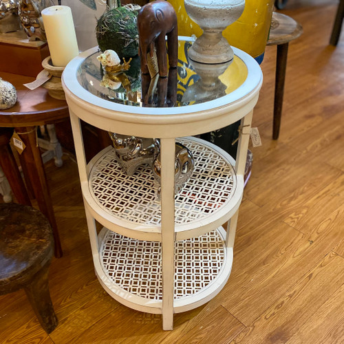 White Wood Accent Table w/Mirror Top