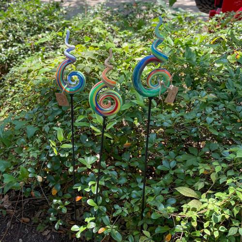Swirl Art Glass on Stake