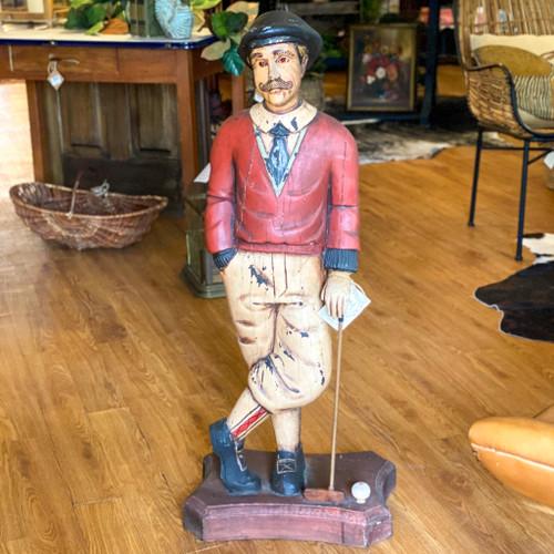 Vintage Hand-Carved Golfer