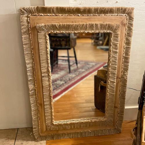 Wood & Rattan Rectangle Wall Mirror