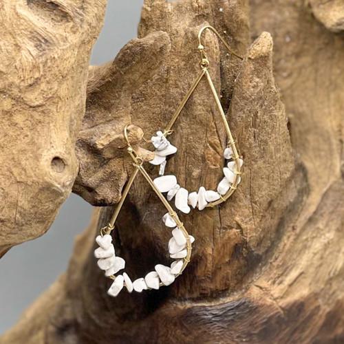 Gold & White Semi Precious Earrings