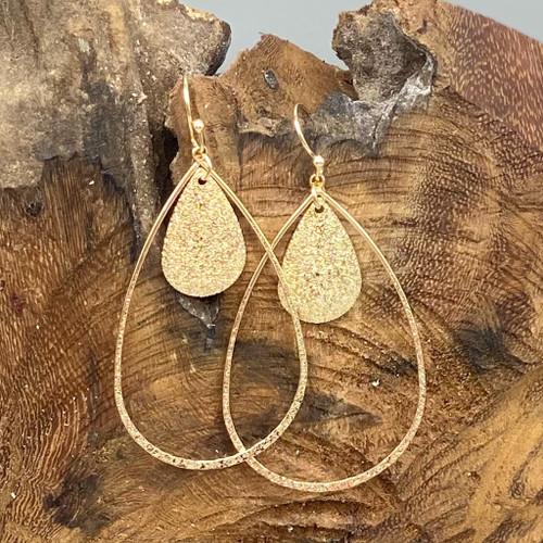 Gold Teardrop w/Sand Finish Earrings