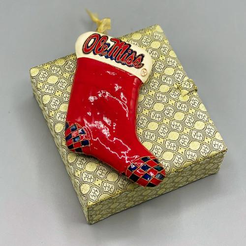 Ole Miss Stocking Cloisonné Ornament