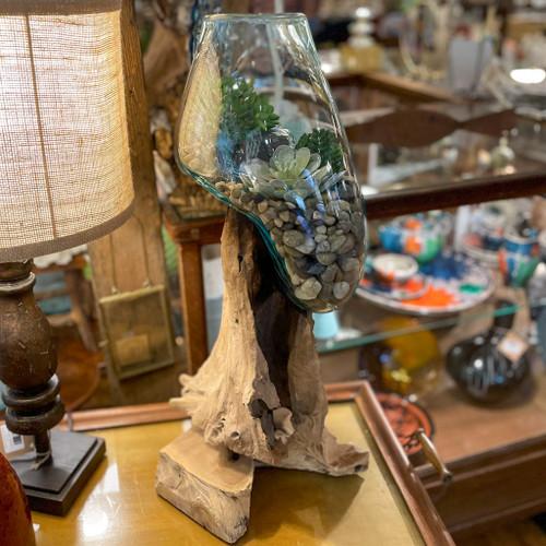 """24"""" Standing Molten Glass on Driftwood"""