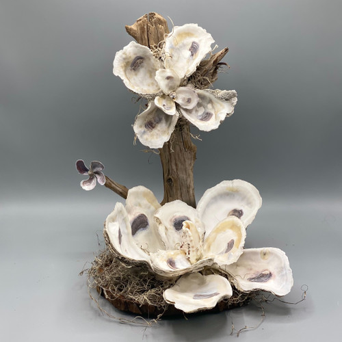 Handmade Shell Magnolias w/Driftwood Post