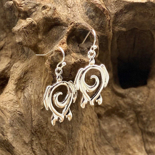 Silver Sea Turtle Swirl Earrings