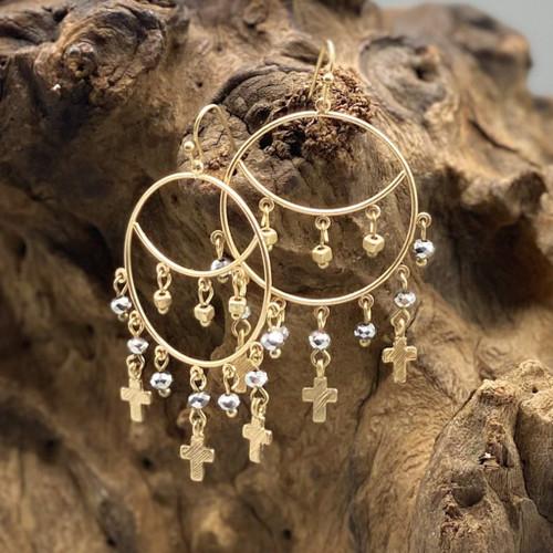 Black Diamond Circle  Cross Charm Earrings