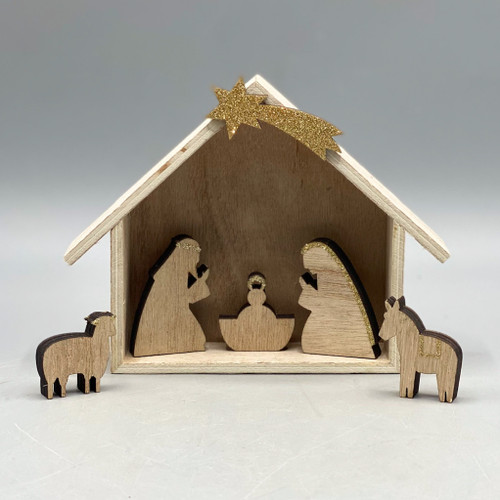 Natural & Gold Wood Nativity