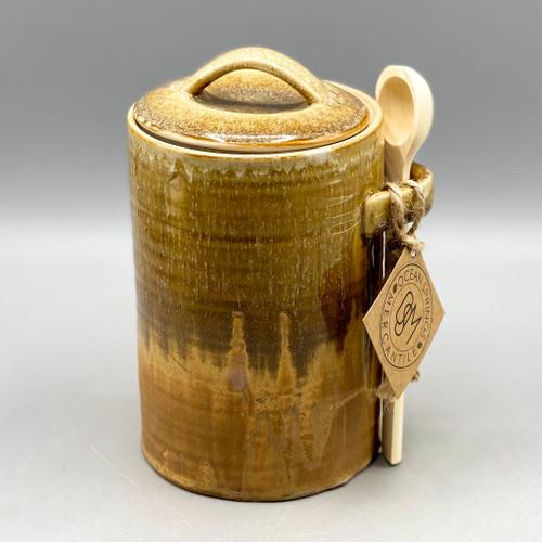 Stoneware Jar w/Lid & Wood Spoon