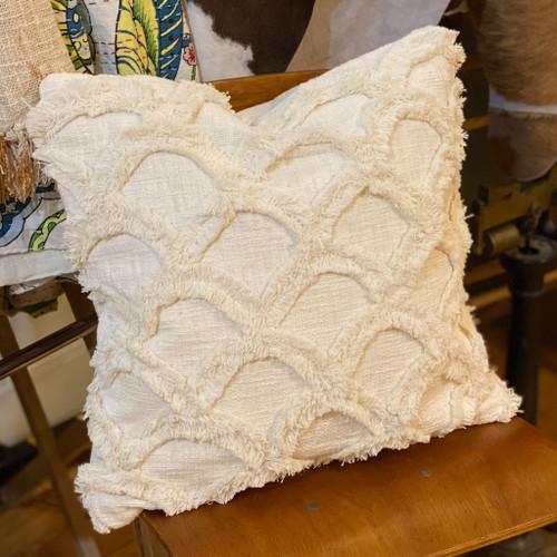 White Chenille Scalloped Pillow