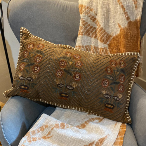 Chambray & Blanket Stitch Lumbar Pillow