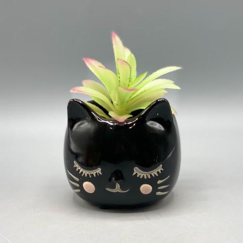 Black Ceramic Cat Planter