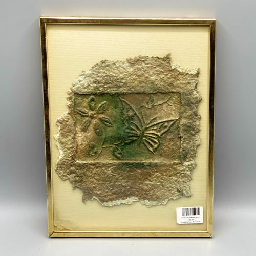 """""""Spring Green Handmade Paper using Eucalyptus Leaves, Pine Oak & Cotton"""" Framed Wall Decor"""