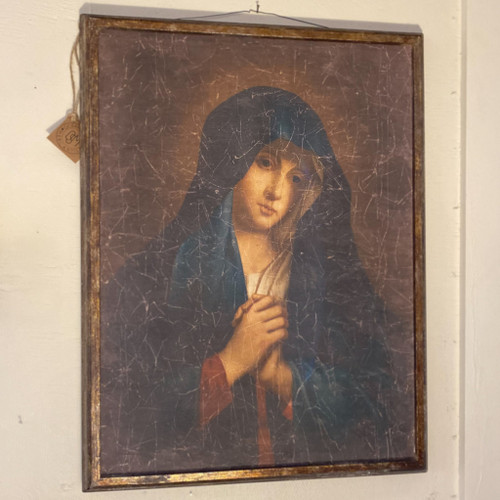 Vintage Reproduction Virgin Mary Framed Picture