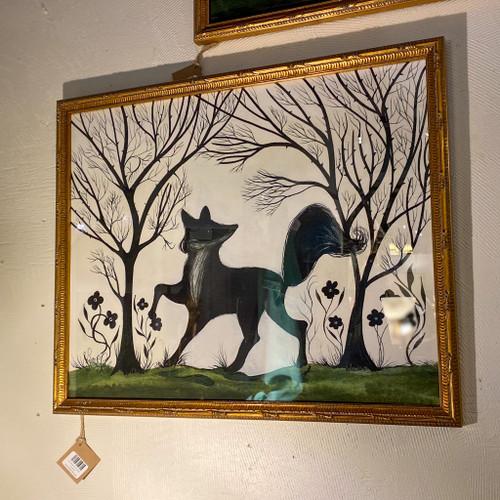 Fox Silhouette Facing Left Wall Art