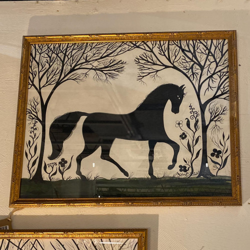 Horse Silhouette Facing Right Wall Art