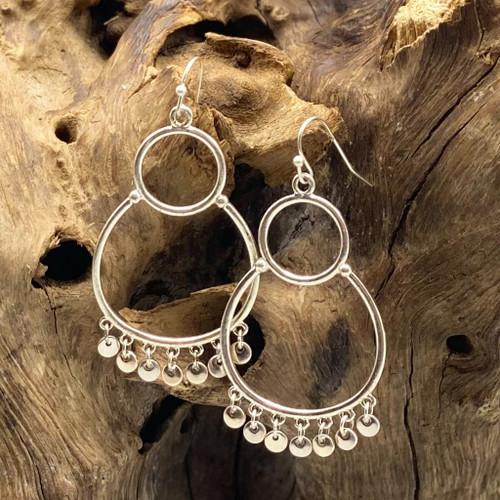 Silver Circle w/Fringe Earrings